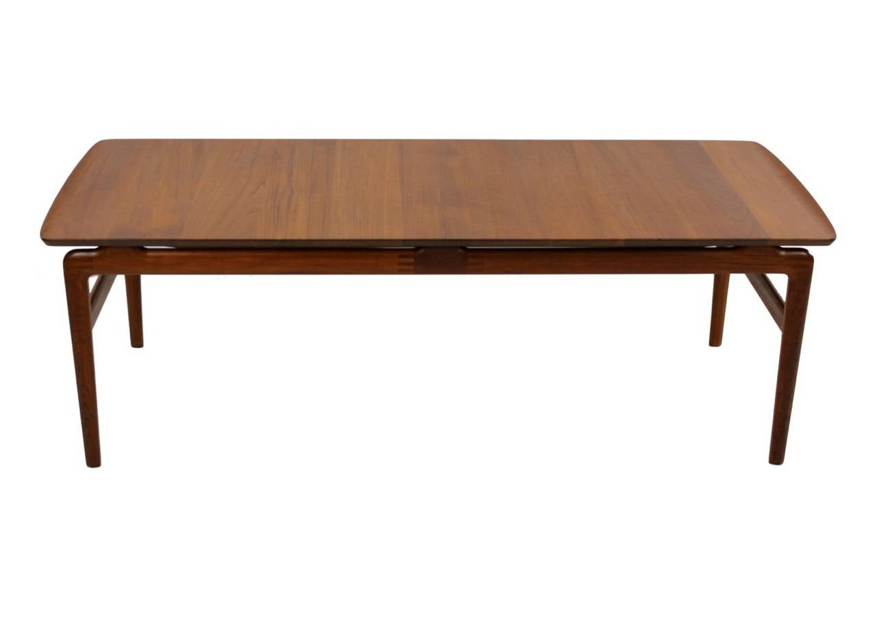 Solid teak danish modern coffee table designed by peter for Modern coffee table for sale