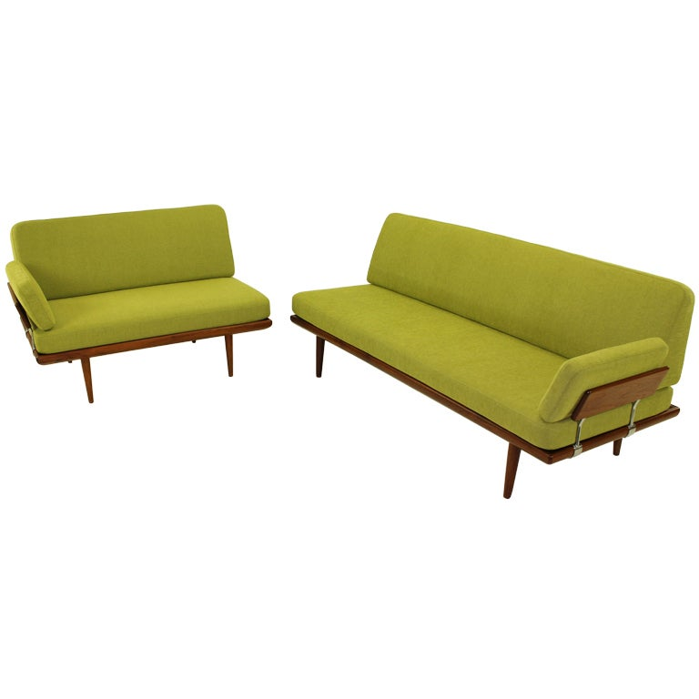 Impeccable danish modern sofa and settee designed by peter for Danish modern settee