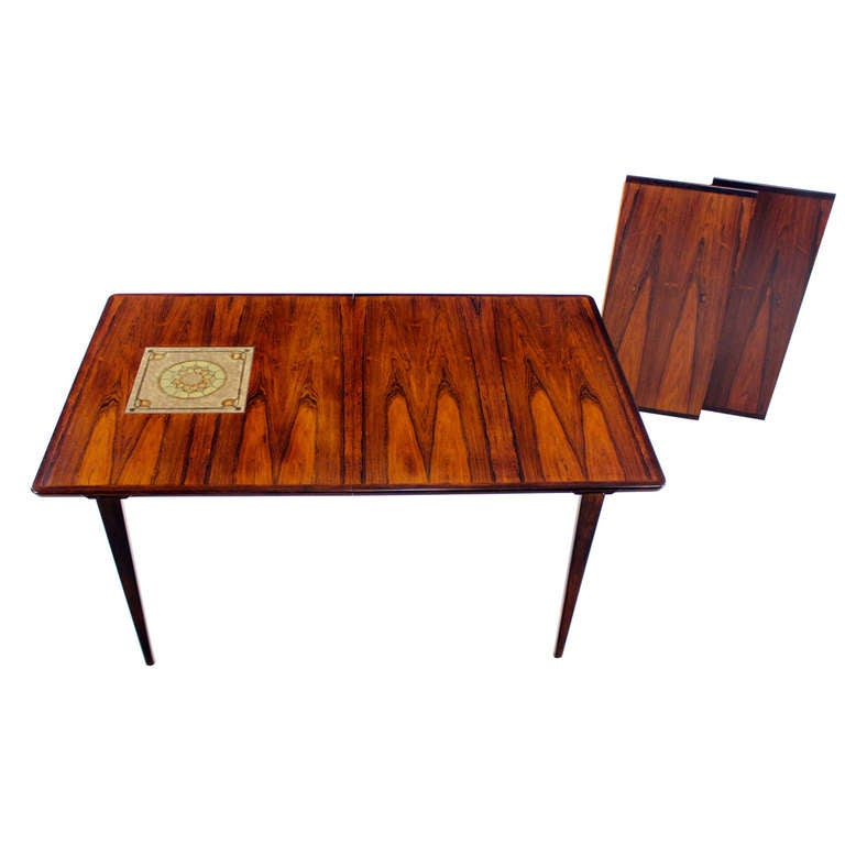Extraordinary Danish Modern Rosewood Dining Table Designed