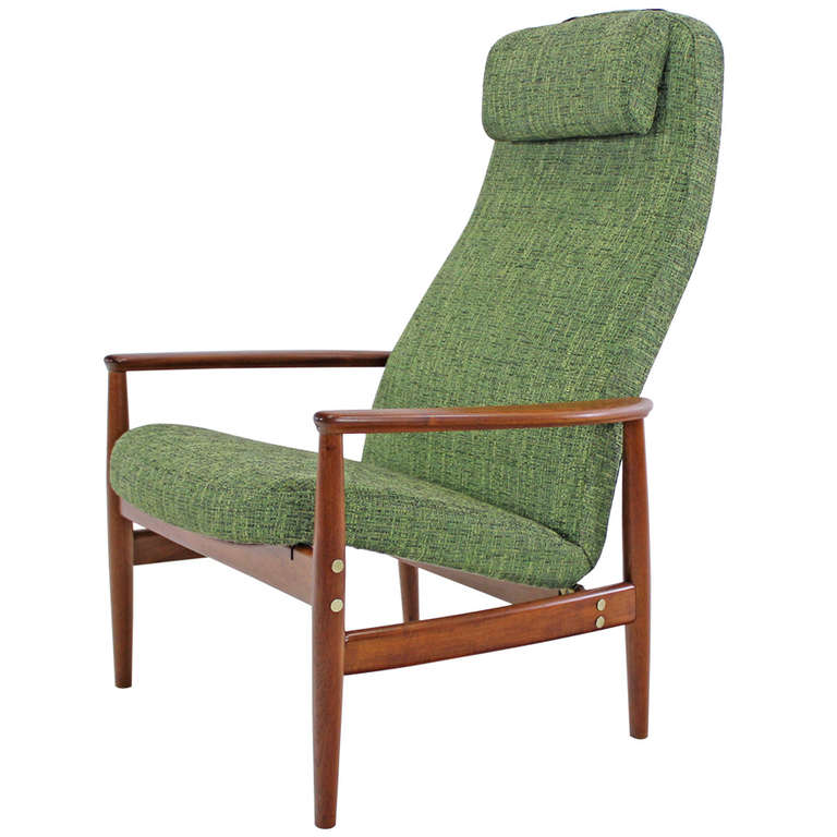 stylish danish modern teak lounge recliner at 1stdibs