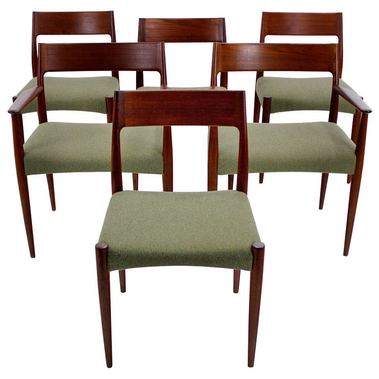set of six danish modern dining chairs designed by arne hovemand olsen