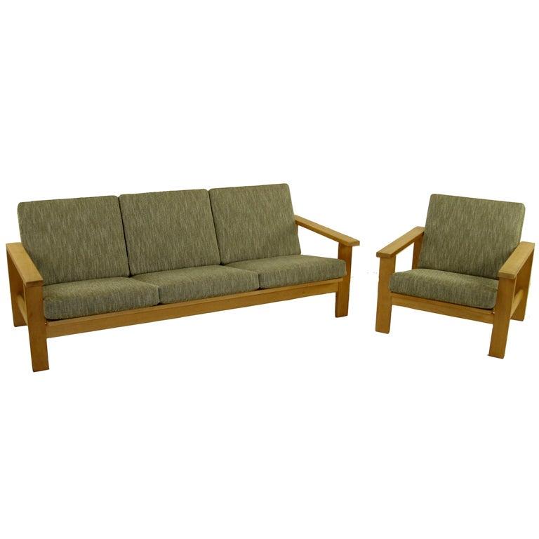 Classic Hans Wegner Danish Modern Sofa And Chair Set At
