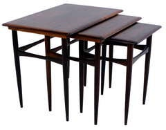 Set of Three Rosewood Nesting Tables