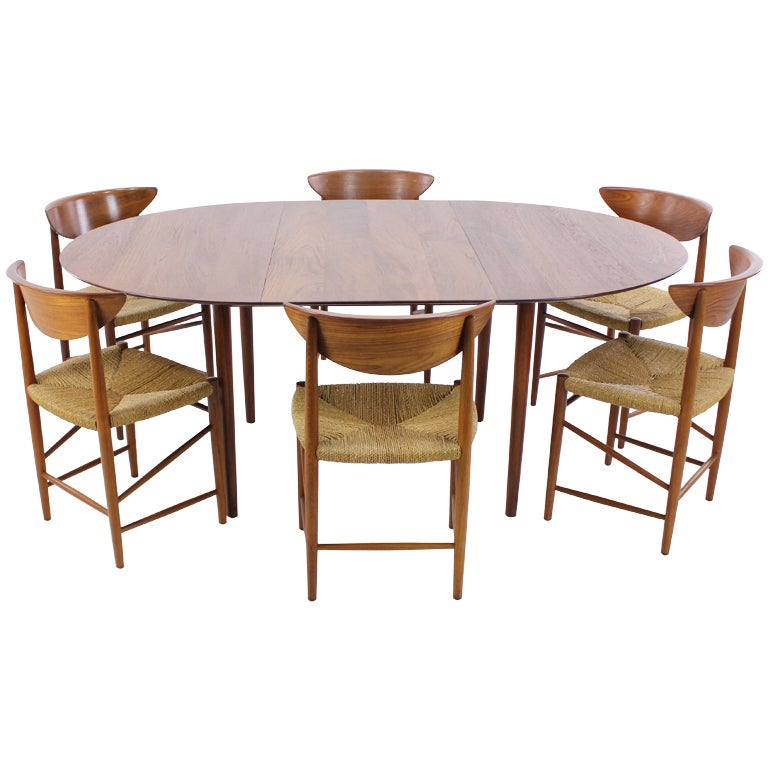 danish modern solid teak dining set designed by peter hvidt at 1stdibs. Black Bedroom Furniture Sets. Home Design Ideas