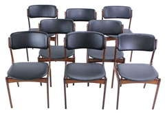 Set of Eight Danish Modern Rosewood Dining Chairs Designed by Erik Buck