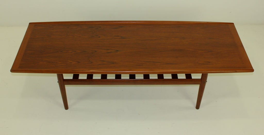 Danish Modern Solid Teak Coffee Table W Exceptional Graining By At 1stdibs