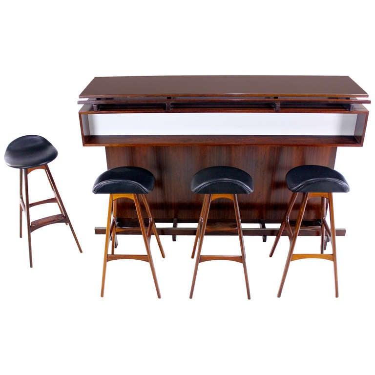 Danish Modern Rosewood Master Bar With Four Erik Buck Bar
