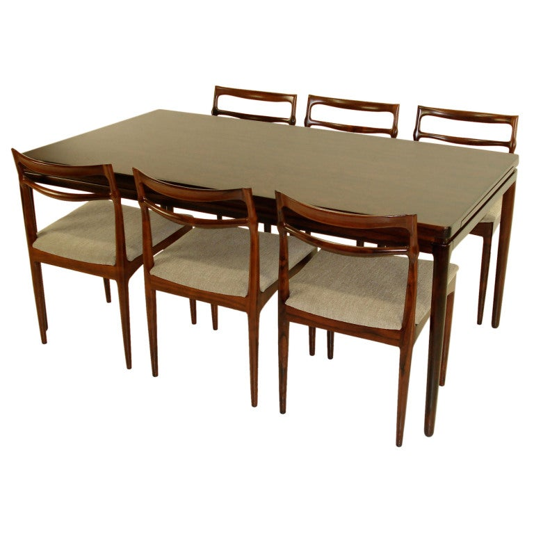 danish modern rosewood dining set by johannes andersen at