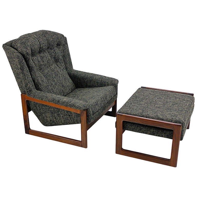 Mid Century Modern Armchair Lounge Chair and Ottoman by Dux at 1stdibs