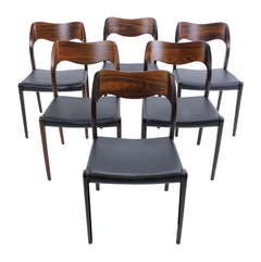 Set of Six Danish Modern Rosewood Dining Chairs Designed by JL Moller