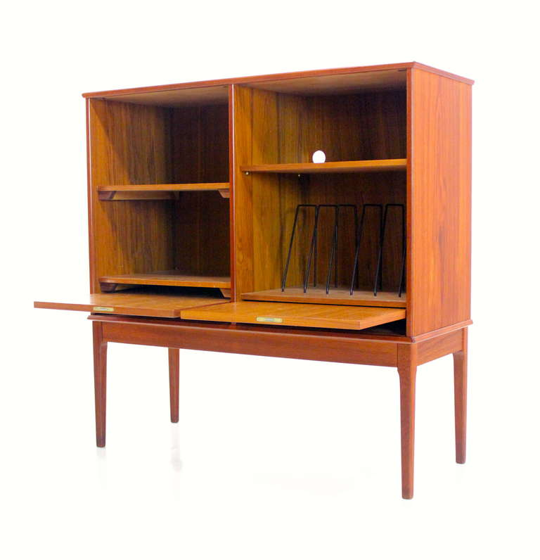 Scandinavian modern teak stereo record cabinet at 1stdibs for Modern teak kitchen cabinets