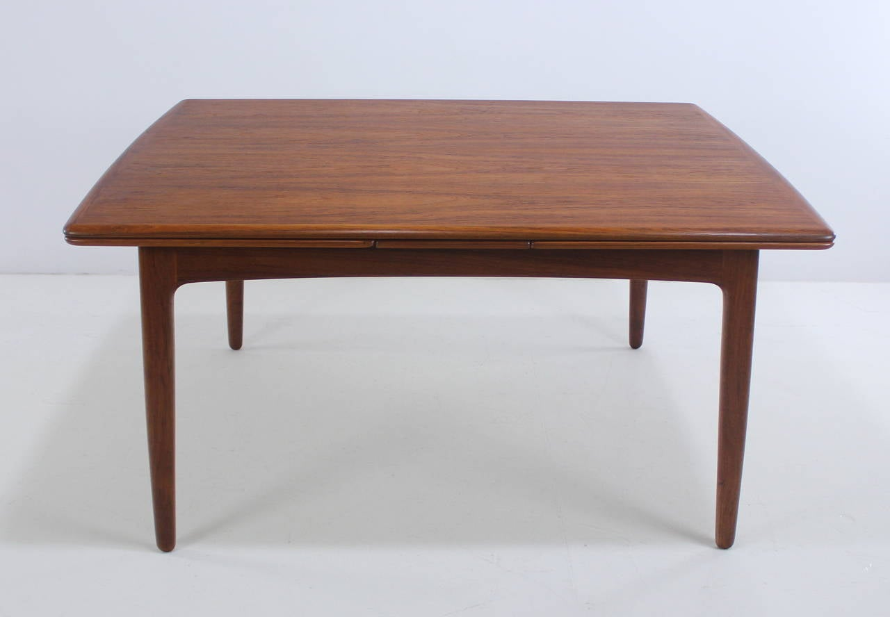 Extra deep danish modern draw leaf dining table designed for Extra long dining room tables sale