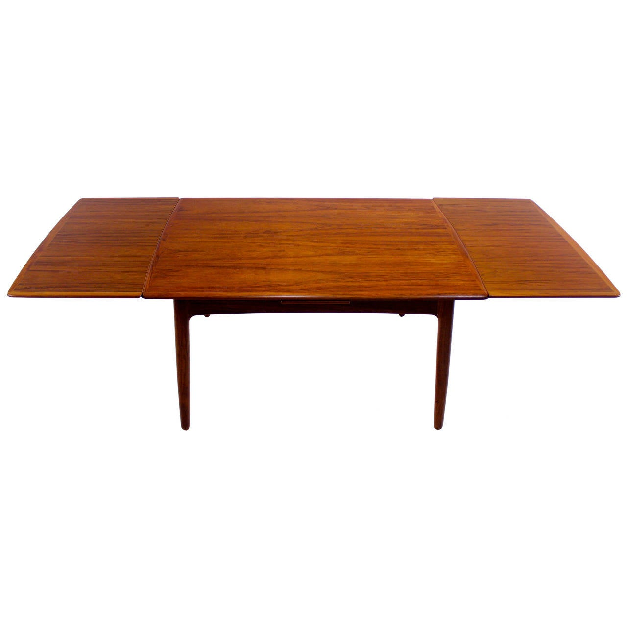 extra deep danish modern draw leaf dining table designed