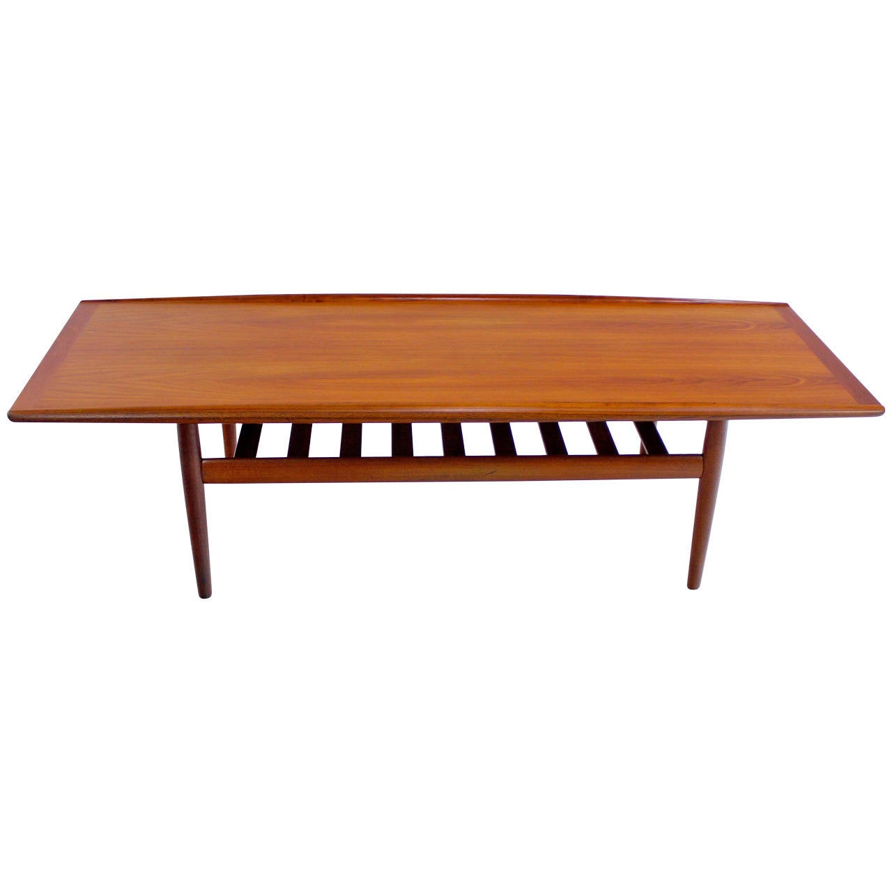 Danish modern solid teak coffee table designed by grete for Solid coffee table