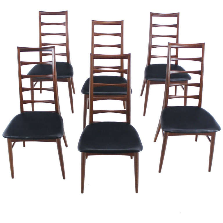 set of six danish modern liz dining chairs designed by