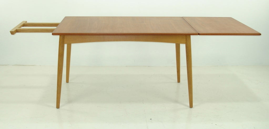 Danish modern teak and oak drop leaf dining table by hans for Dining table support