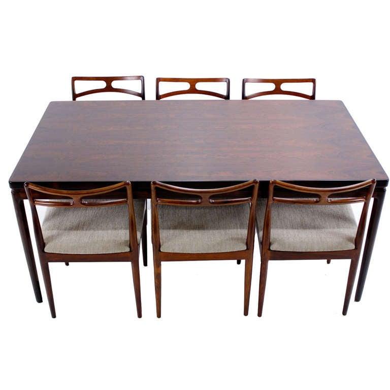 Elegant danish modern rosewood dining set designed by for Elegant modern dining room sets
