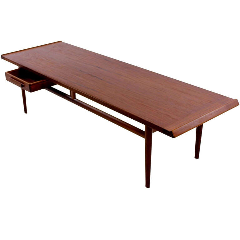 Sleek danish modern teak coffee table at 1stdibs Sleek coffee table