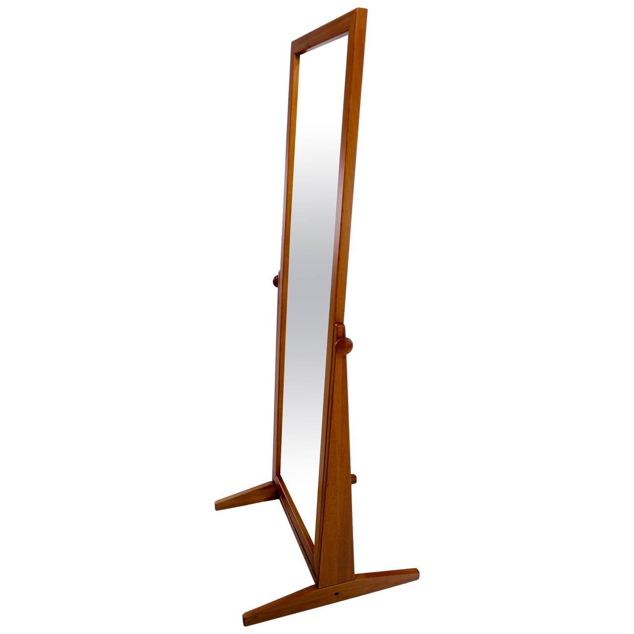 Danish modern teak full length mirror by pederson and for Full length mirror with shelf