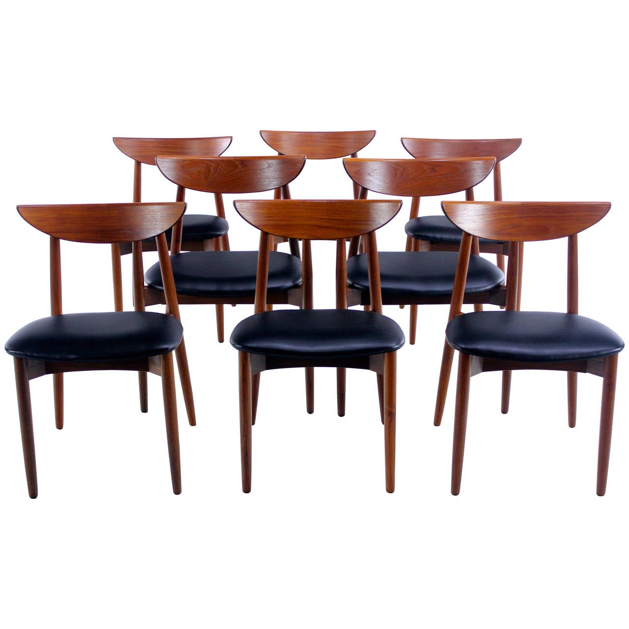 set of eight danish modern teak dining chairs designed by