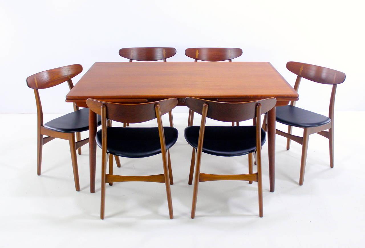 danish modern teak dining set designed by hans wegner for sale at