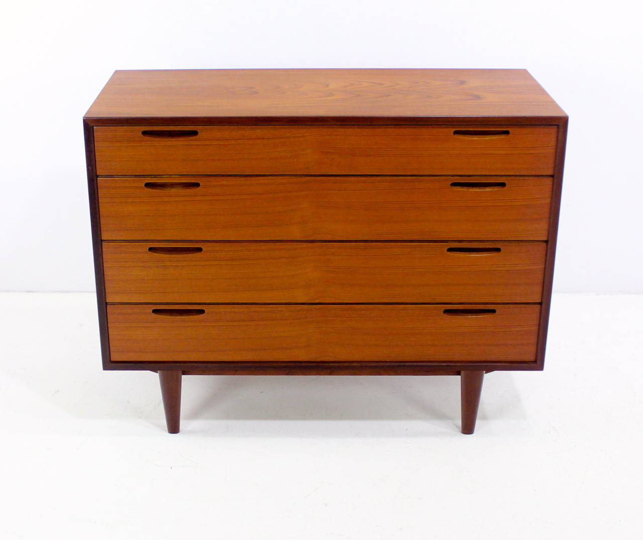 Danish modern four drawer teak dresser chest at stdibs