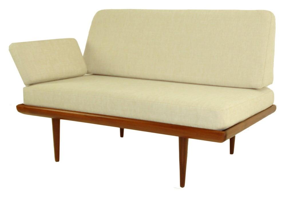 Danish modern teak settee daybed designed by peter hvidt for Danish modern settee