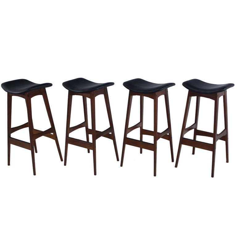 Set Of Four Danish Modern Teak Bar Stools Designed By