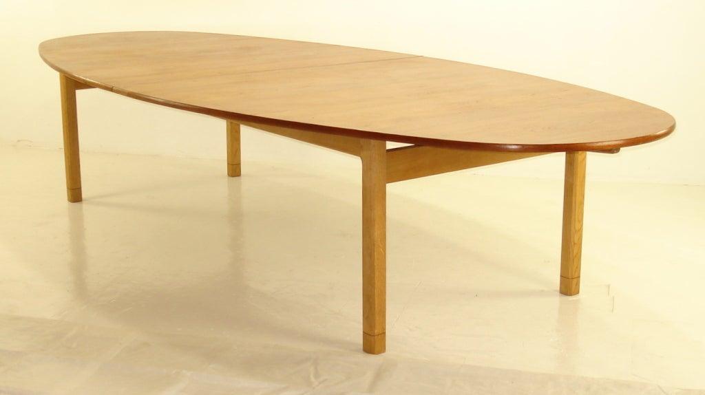 Impressive Danish Modern Teak And Oak Dining Conference Table At