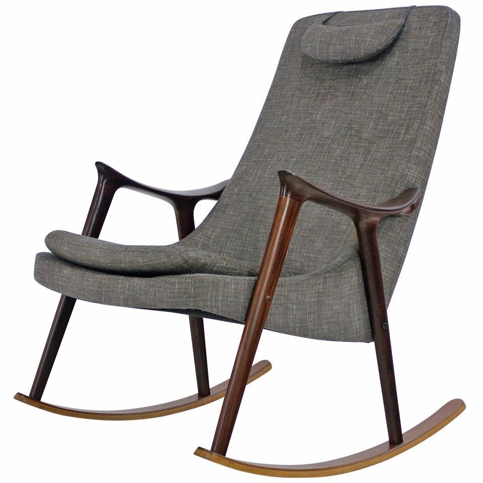 Scandinavian Modern Mahogany And Teak Rocking Chair