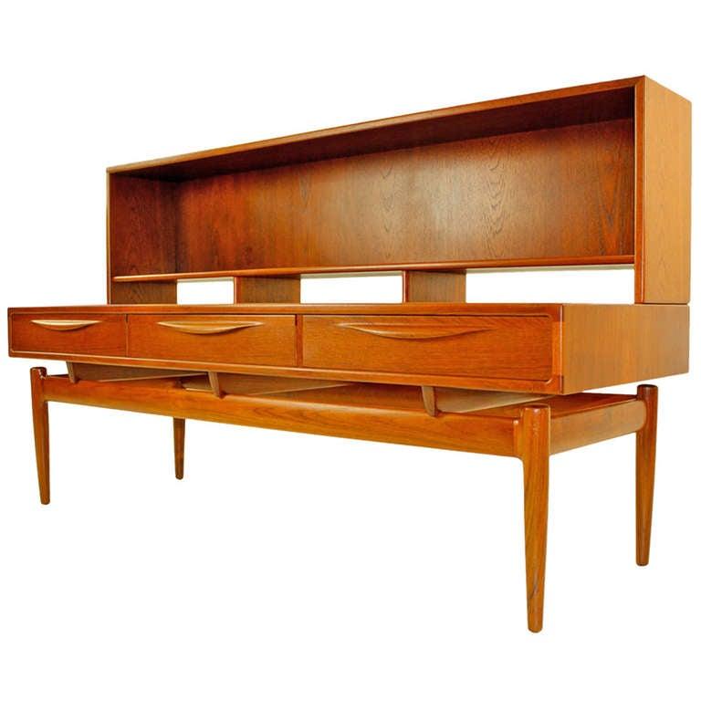 Rare danish modern teak console w floating bookshelf top for Sideboard lindholm