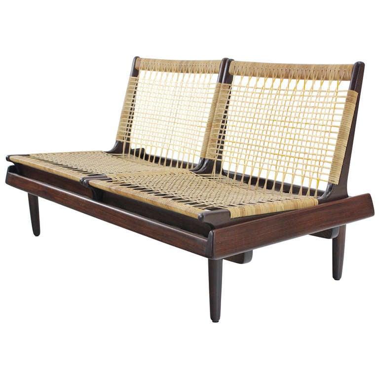 Danish modern teak and cane settee designed by hans olsen for Danish modern settee