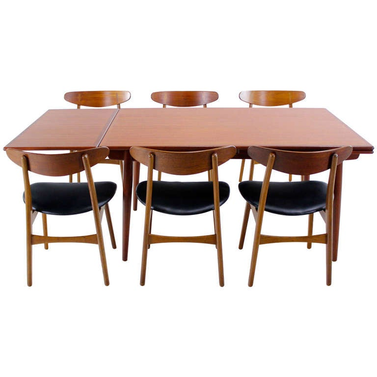 extraordinary danish modern teak and oak dining set