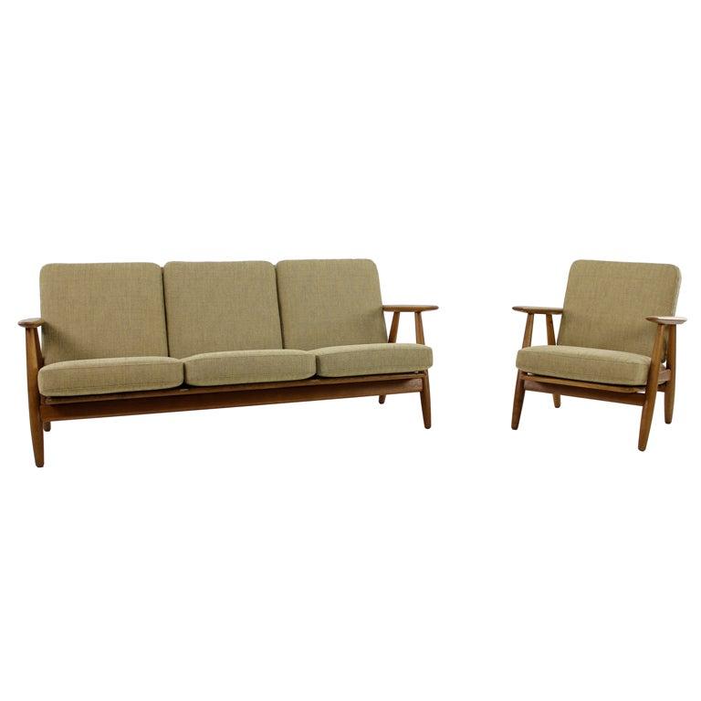 Danish Modern Cigar Sofa And Chair Set Designed By Hans