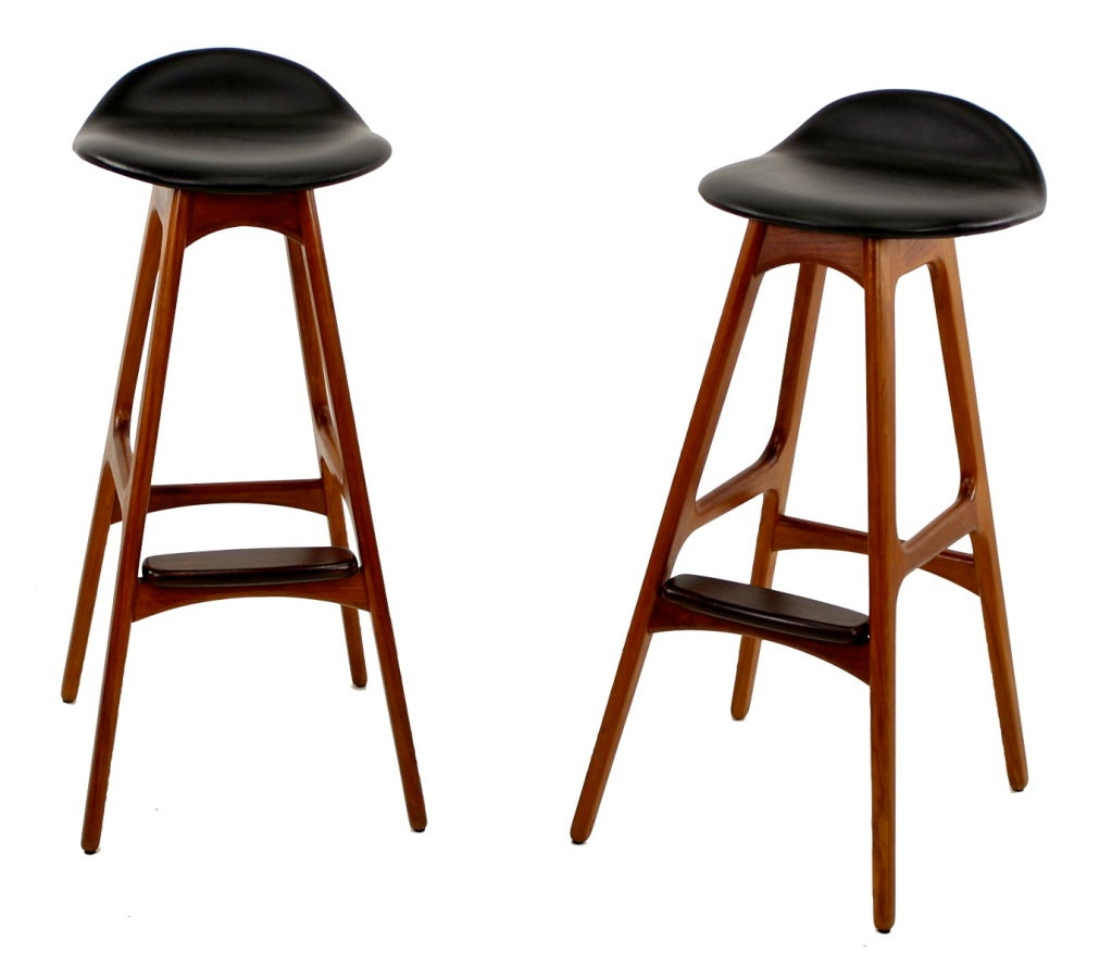 Pair Of Danish Modern Rosewood Bar Stools By Erik Buck At