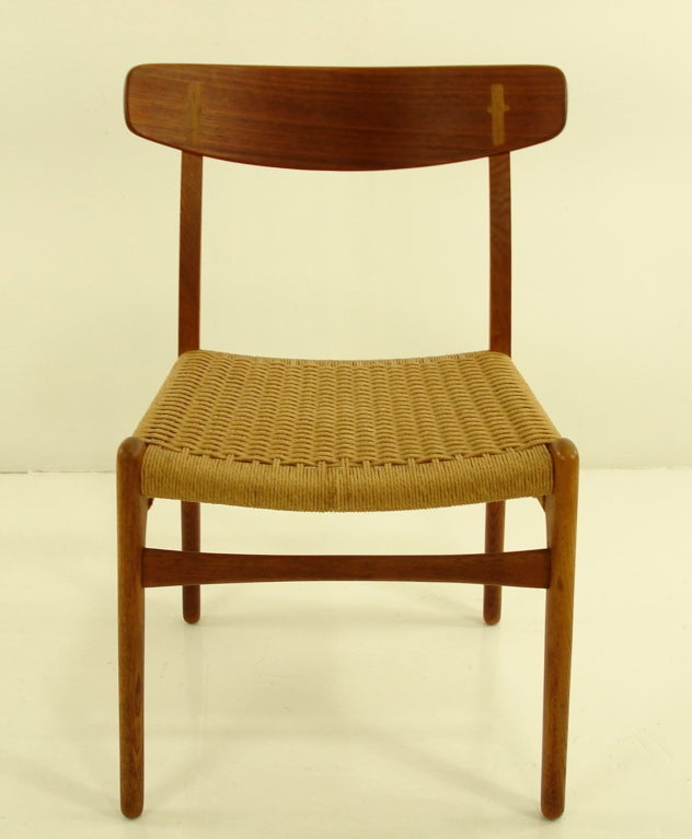 Four Danish Modern Teak & Oak Dining Chairs by Hans Wegner image 2