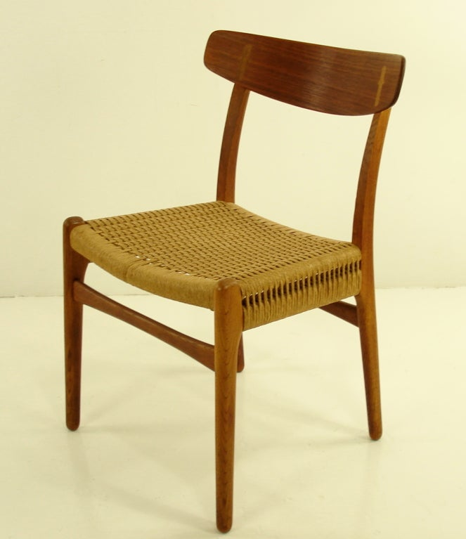 Four Danish Modern Teak & Oak Dining Chairs by Hans Wegner image 3
