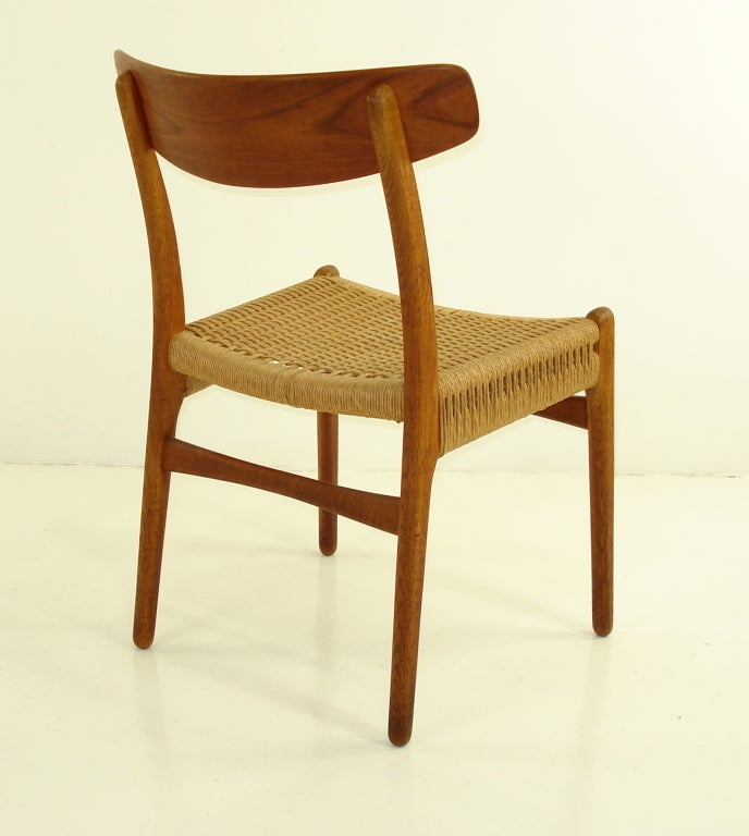 Four Danish Modern Teak & Oak Dining Chairs by Hans Wegner image 4