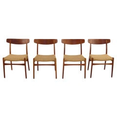 Four Danish Modern Teak & Oak Dining Chairs by Hans Wegner thumbnail 1