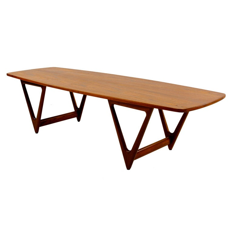 High style danish modern teak coffee table at 1stdibs Modern teak coffee table