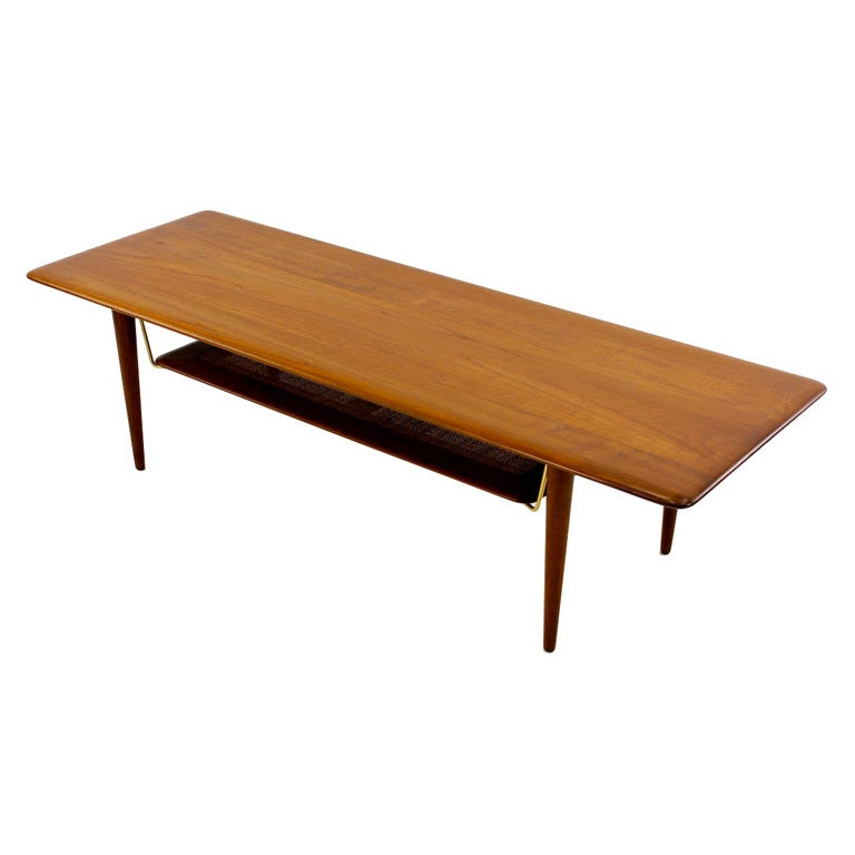 Danish Modern Solid Teak Coffee Table By Peter Hvidt At 1stdibs