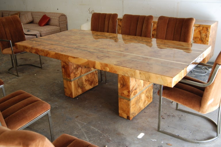 Oyster Burl Wood Table And Chairs At 1stdibs