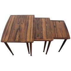 Danish FC Brazilian Rosewood Nesting Tables by Møbel Intarsia, 1960s