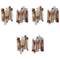 Set of Six Sculptural Murano Glass Wall Sconces by Mazzega