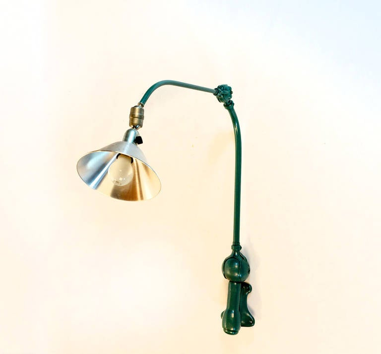 Rare industrial Triplex wall lamp. Designed by Johan Petter Johansson for Asea, Sweden around 1930. In good vintage condition and working