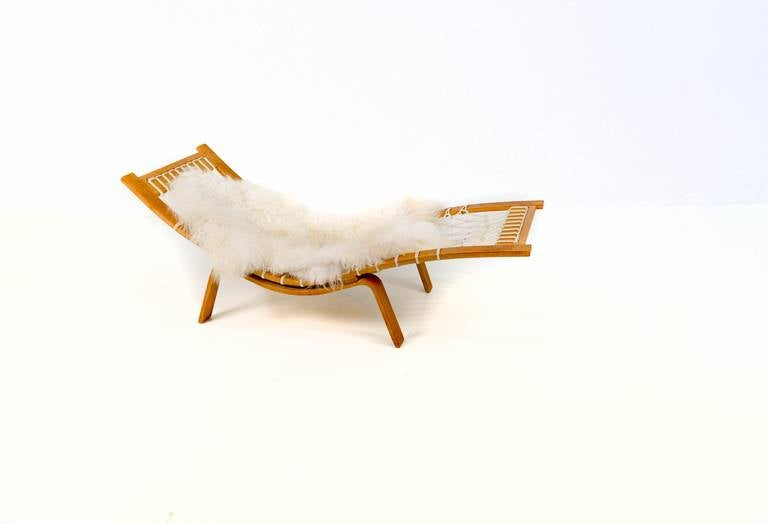rare hans wegner hammock chaise longue for getama for sale. Black Bedroom Furniture Sets. Home Design Ideas