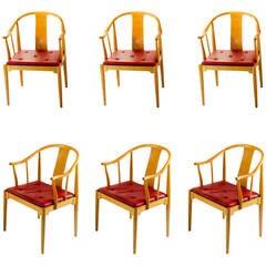 Six Nice China Chairs, Designed by Hans Wegner for Fritz Hansen