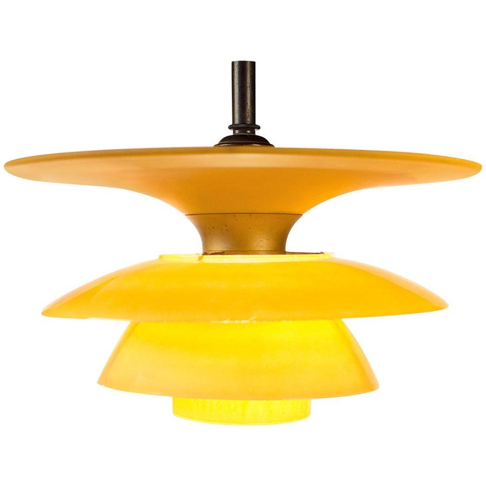 Rare Poul Henningsen Glass Four-Shade Lamp by Louis Poulsen