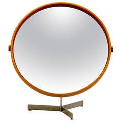 Large Oak Table Mirror by Östen Kristiansson for luxus.