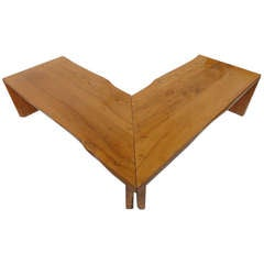 Italian Custom Made Rustic Walnut Corner Table / Bench 1960's